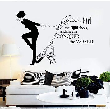 Vinyl Wall Decal Paris Woman Quote Fashion Girl Eiffel Tower Stickers Unique Gift (ig3682)