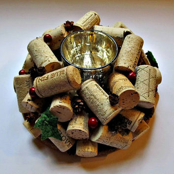 Wine Cork Candle Holder - Christmas Holiday Decor - Table Centerpiece