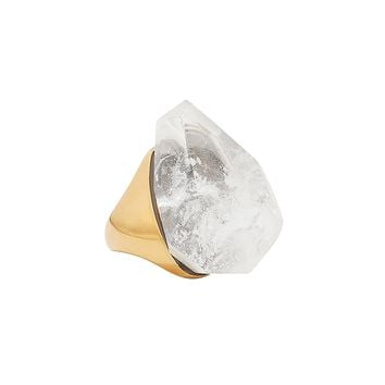 Faceted White Stone Ring