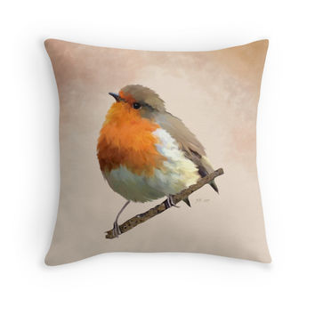 'Red Breasted Robin' Throw Pillow by Bamalam Art and Photography