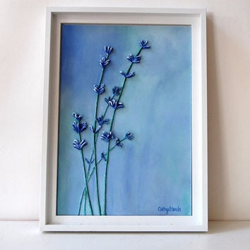 Lavender IV - Mixed Media Original Painting - String and Acrylics - Framed