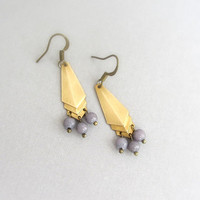 Chevron earrings, vintage gold brass with grey agate gemstone beads.