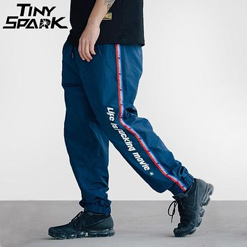 Side Stripe Pants Jogger Men Hip Hop Pants Street wear Vintage Ribbon Sweat pant Casual Track Trousers Summer Spring