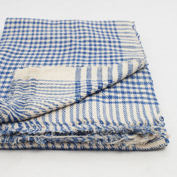 Twin Blanket or Throw in Checkered Blue