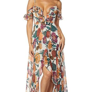 Tropic Romance Beige Floral Pattern Short Sleeve Off The Shoulder V Neck Ruffle Split Casual Maxi Dress