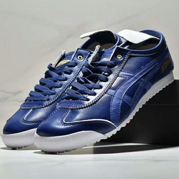 Adidas & Onitsuka Tiger MEXICO 66 New fashion breathable women and men sports leisure shoes Blue