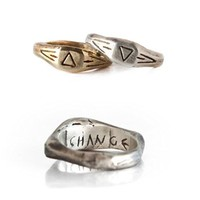 Two Aztec Solid Sterling Silver And Yellow Bronze Geometric Engraved Rings