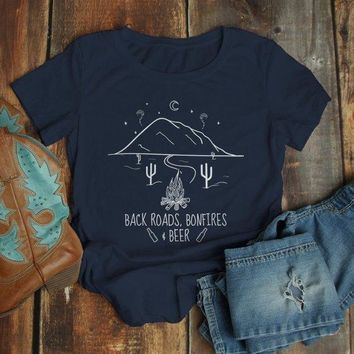 Women's Hipster T Shirt Back Roads Bonfires Beer Shirts Graphic Tee Nature Mountains TShirt Fall Camping