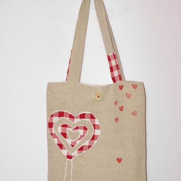 Hand stamped Bag, Reversible Tote Bag, Linen and Cotton Tote bag, Bag with hearts, White and red Tote Bag, Unique Tote bag, Large tote bag