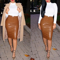 Casual Faux Leather Bodycon Midi Skirt