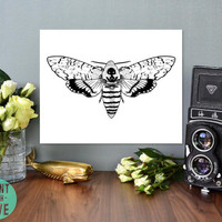 Death's Head Hawkmoth Death Moth Skull Moth Insect Silence of the Lambs Goth Print