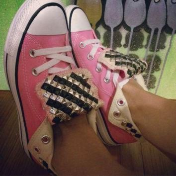 DCCKGQ8 custom studded pink converse all star high tops chuck taylor all colors sizes