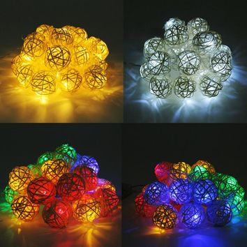 Handmade Solar LED Rattan Ball Lights 20pcs LEDs Sepak Takraw String Christmas Lights Party Wedding Garden Decorations