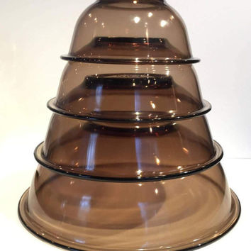 Amber Pyrex Mixing Bowls Complete Set of 4, Brown Glass Mixing Nesting Bowl Set, Set (4) Pyrex Original Stacking Mixing Bowls