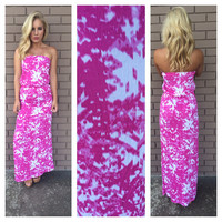 Fuschia & White Farrah Strapless Maxi Dress