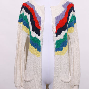 vintage 80s cardigan / 1980s open front sweater / 80s chevron stripe sweater / white / multicolor stripes / pockets / size medium / K27