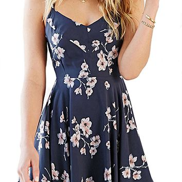 CORIRESHA Coli&Tori Women's Vintage A-line Floral Print Crisscross Back Cami Dress/Skater Dress/Summer Dress