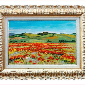 Italian painting Tuscany landscape with red poppies original oil of Alviero Luciano Italy - Dipinto quadro Toscana