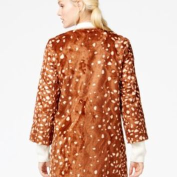 Maison Jules Collarless Faux-Fur Coat, Only at Macy's | macys.com