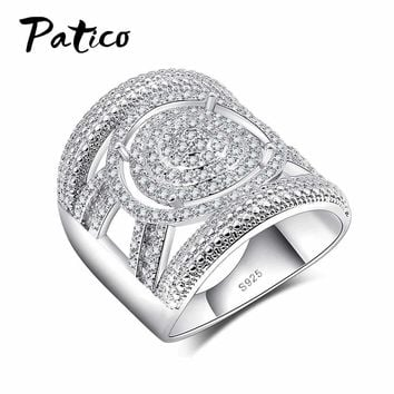 PATICO 925 Sterling Silver CZ Crystal Wide Wedding Ring For Women&Men Jewelry Bague Bijoux Clear Zirconia Femme Ring Accessories