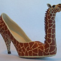 Paper Mache Giraffe shoe OOAK by mosaicmache on Etsy