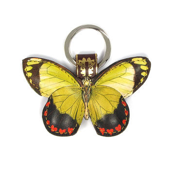 Leather Key Ring / Bag Charm - Valentine Butterfly