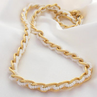 Vintage Necklace Trifari Gold and White Seed Pearl Chain
