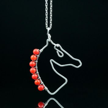 Sterling silver Red coral horse pendant necklace Kentucky Derby Free US Shipping handmade Anni Designs