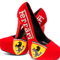 Ferarri Red Crystal Heels with Italian Flag