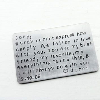 To my SwEEtHeARt Wallet Keepsake Card Third Year Anniversary Create Your Own Message Saying Or Quote For Him or Her
