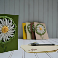 Green Daisy Garden Party Invitation or Greeting Card with Envelope - Blank Inside