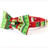 "Holiday Bow Tie Cat Collar Set - ""The Grinch"" - Red & Green Seuss-Inspired Detachable Bow Tie + Matching Christmas Collar"