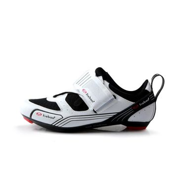 TIEBAO 6-1691 New Triathlon Road Bicycle Shoes Outdoor Racing Road Triathlon Bike Shoes LOOK-KEO SPD-SL Cleat Cycling Shoes