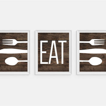 Rustic Kitchen Art Print U0027Eatu0027, Fork Spoon Knife Art, Faux Wood U0027