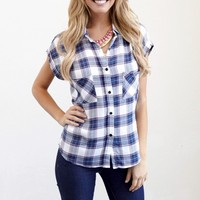 Blue White Pink Plaid Button Up Tank Top