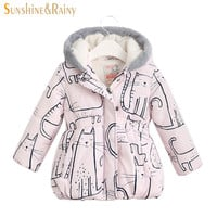 New Winter Kids Jackets & Coats Cartoon Cat Graffiti Girls Parkas Hooded Baby Girl Warm Outerwear Thick Children's Jacket