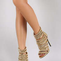 Snake Strappy Linked Chain Open Toe Stiletto Heel
