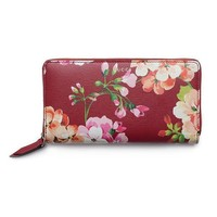 DCCK Gucci Shanghai Blooms Red Continental Wallet Leather Authentic Zip Around New