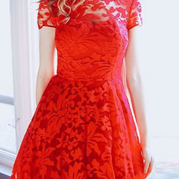 Red Floral Mesh Pleated Dress