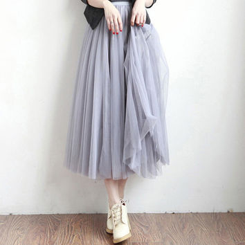 High Waist Tulle Skirts Women 2017 Summer Party White Elastic Waist Long Skirt Girls Princess Skirts Sun Fluffy Tutu Skirt Femme