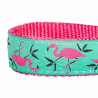 Blueberry Pet 5/8-Inch Basic Polyester Nylon Collar Lead Harness for Dog, Small, Pink Flamingo on Light Emerald
