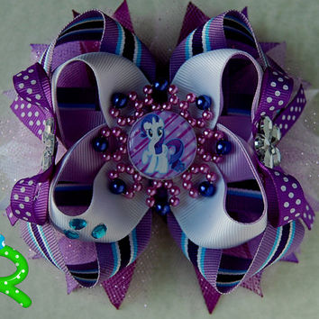 My little pony Hair Bow , Rarity Ott bow, Layered Hair Bow , Rarity  Stacked Bow