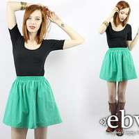 Vintage 80s Green High Waisted Mini Skirt High Waist Skirt High Waisted Skirt Skater Skirt 80s Skirt Green Skirt