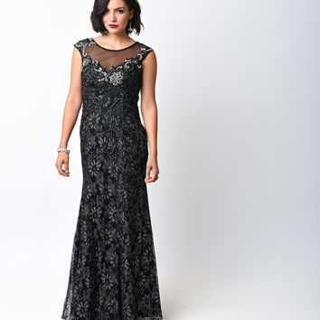 1930s Style Black Cap Sleeve Rhinestone Embroidered Lace Gown
