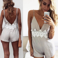 Fashion Sexy straps lace splicing backless romper