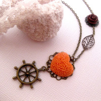 Peach Boat Heart Necklace  Boat Helm  Ship by FashionCrashJewelry