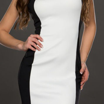 Black and White Color Block Sleeveless Zip Up Back Bodycon Dress