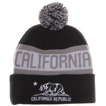 c2dc63db Absolute Accessory California Republic Bear Cuff Pom Pom Beanie Cable Knit  Hat Cap