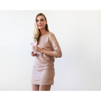 Sparkling pink sequins mini dress with open back 1132