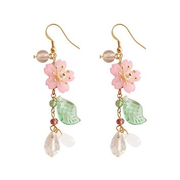 7.7 cm Long Japanese Acrylic Romantic Sakura Earrings Sweet White Crystal Pink Flower Green Leaf Drop Earrings For Women Lady